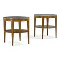 Tommi parzinger 1903  1981 charak modern pair of lamp tables boston ma 1940s bleached mahogany marble decal labels 26 14 x 26 dia