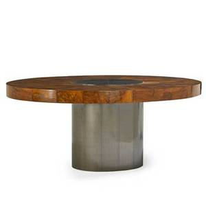Paul evans 1931  1987 directional cityscape dining table usa 1970s patinated steel maple burl unmarked 29 12 x 73 x 48 12 one insert 20