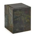 Paul evans 1931  1987 directional side table usa 1970s welded polychromed and patinated steel bronze slate unmarked 18 12 x 14 12 sq