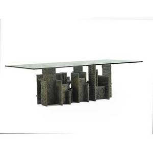 Paul evans 1931  1987 directional sculptured metal dining table usa 1973 bronzed composite glass signed pe 73 29 12 x 96 x 48 provenance original owner purchased from the artist