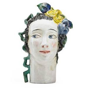 Lotte calm b 1897 wiener werkstatte glazed ceramic head austria 1920s stamped ww made in austria 960 8 34 x 5 12 x 5 literature fahrbecker wiener werkstatte 19031952 1995 plate 15