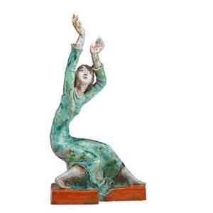 Susi singer 1891  1955 painted ceramic sculpture of a dancer austria 1930s signed stamped made in austria 14 14 x 7 x 4
