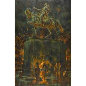 Edward laning american 19061981 two works of art the fire now union square oil on canvas framed signed 71 14 x 48 the fire next time union square 1958 oil on canvas framed signe