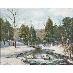 John e berninger american 18971981 mountain stream oil on canvasboard framed signed 16 x 20 provenance private collection pennsylvania