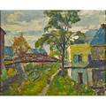 John wells james american 18731951 along the canal oil on canvas mounted to board framed signed 13 x 15 78 provenance private collection new jersey