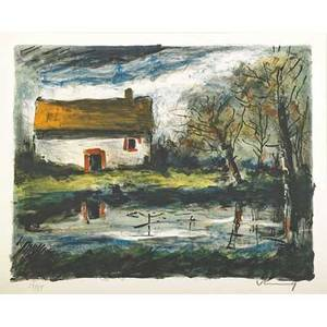 Maurice de vlaminck french 18761958 paysage lithograph in colors framed signed and numbered 1375 16 x 20 sight provenance private collection new york