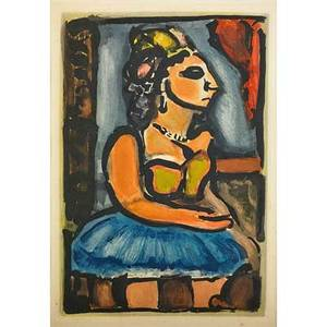 Georges rouault french 18711958 two works of art pre ubu songster from reincarnations du pre ubu 1928 etching framed signed and numbered 59225 12 x 7 58 plate 13 58 x 9 18