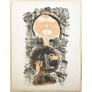 Jean dubuffet french 19011985 untitled from matire et mmoire 1944 lithograph in colors framed signed and dated in the plate 12 34 x 9 78 sheet publisher mourlot paris prove