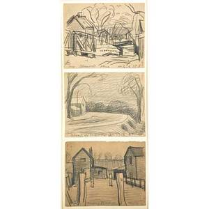 Oscar florianus bluemner american 18671938 bloomfield three graphites on paper framed together each signed and titled 4 34 x 5 78 sheet each provenance private collection maryland