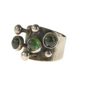 Sam kramer 1913  1964 ring with stalks new york 1940s50s sterling silver tourmaline stamped with artists cyphersterling size 8