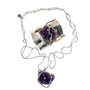 Arthur king necklace and cuff bracelet new york amethyst sterling silver necklace stamped sterlingking bracelet 2 12 x 2 14 x 3 necklace 9