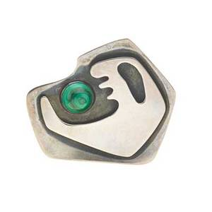 Ed wiener 1918  1991 sculptural brooch new york ca 1949 sterling silver malachite stamped ed wiener sterling 2 14 x 2 12 literature eidelberg ed messengers of modernism 1996 p