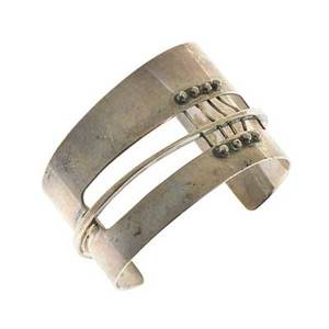 Ed wiener 1918  1991 sterling silver cuff bracelet with corset strapping new york 1950s stamped ed wiener sterling 2 x 2 12 x 1 34 literature schon modernist jewelry 19301950 2007