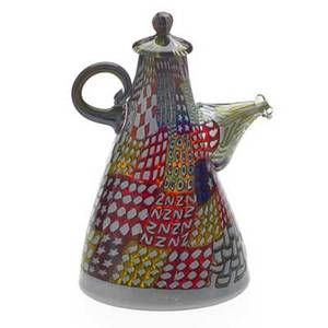 Richard marquis b 1945 glass teapot sculpture crazy quilt coffee pot washington state 1990 blown glass with murrini signed and dated in murrine and on base 7 12 x 5 12