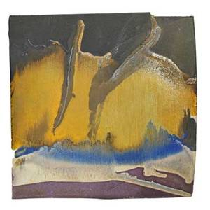 Toshiko takaezu 1922  2011 glazed porcelain hanging landscape tile clinton nj ca 1975 signed 10 12 sq note takaezu had this tile hanging in her home