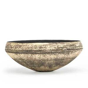 Hans coper 1920  1981 stoneware bowl with interior resist design manganese glaze and porcelain slip england 1950s artists chopmark 2 34 x 7 provenance jeffrey spahn gallery