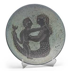 Edwin scheier 1910  2008 mary scheier 1908  2007 low bowl with man and mermaid new hampshire 1950s signed 15 dia