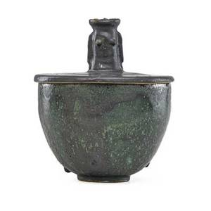 Edwin scheier 1910  2008 mary scheier 1908  2007 lidded bowl with female finial green and gunmetal glaze green and valley az signed 10 x 8 provenance collection of burt cureton and ch