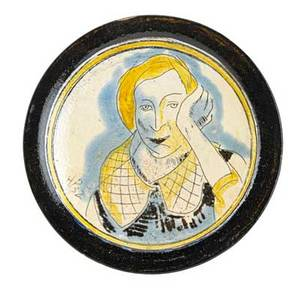 Henry varnum poor 1887  1970 glazed faience plate with portrait of a woman new city ny 1952 signed and dated 1 12 x 11 dia