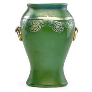 Tiffany studios fine green favrile glass vase with applied handles new york 1909 etched lc tiffany favrile 3543d 8 x 6