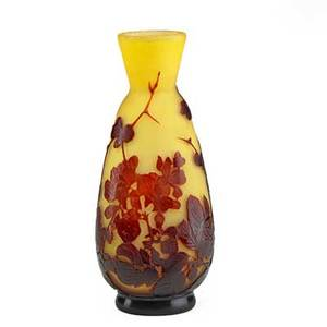 Galle cameo glass vase acidetched with flowers nancy france 1900s signed galle on body 10 x 4 12