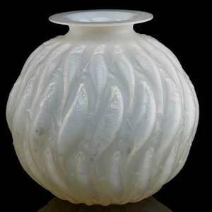 Lalique marisa vase opalescent glass france ca 1927 m p 439 no 1002  signed r lalique france no 1002 9 x 9
