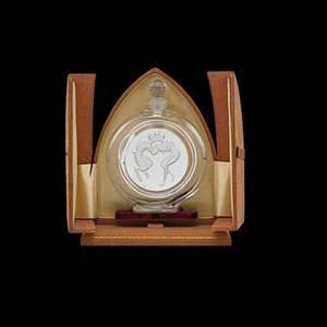 Lalique le baiser du faune perfume bottle with original presentation box for molinard paris france ca 1928 m p 945 no 2 molded r lalique base etched molinardparis france box with gilded