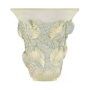 Lalique saintfrancois vase frosted and opalescent glass with green patina france ca 1930 m p450 no 1055 etched r lalique france 7 x 6 12