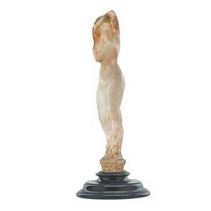 Lalique grande nue socle lierre statuette frosted glass with brown patina on wood base france ca 1919 m p 400 no 836 etched r lalique france no 836 16 14 x 6 14 provenance availab