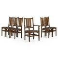 Harvey ellis gustav stickley set of six dining chairs five side one arm eastwood ny ca 1908 remnants of decals to three side chairs paper label to armchair armchair 40 34 x 24 12 x 2