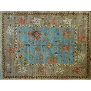 Oushak style contemporary roomsize handknotted wool rug geometric floral design on french blue and gray ground unmarked 9 3 x 11 6