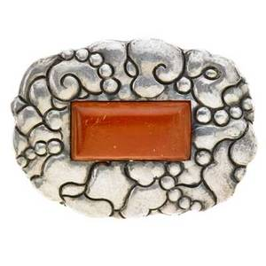 Thorvald bindesboll 1846  1908 hk kyster art nouveau brooch denmark after 1904 hammered sterling silver amber stamped hk kyster with touchmarks 3 34 x 2 34