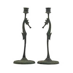 Et hurley 1869  1950 pair of bronze seahorse candlesticks cincinnati oh 1916 one signed and dated 13 x 5