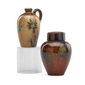 Albert valentien 1862  1925 matthew daly 1860  1937 rookwood two small glazed ceramic vessels limogesstyle pitcher by albert valentien 1882 and lidded vase decorated with turtles by matth