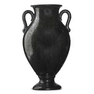 Fulper two urns in mirror black glaze flemington nj 19161922 both have incised vertical racetrack mark taller 13 x 7 12