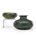 George ohr 1857  1918 two small vessels speckled green and gunmetal glaze biloxi mi 18921910 smaller stamped geo e ohr biloxi script signature to larger larger 3 x 4 provenance soth