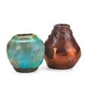 Pewabic two glaze test vases oxblood and turquoise glazes detroit mi oxblood vase with obscured mark 2 14 2