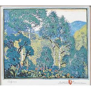 Gustave baumann american 1881  1971 color woodblock print aspens in original frame santa fe nm 1920 chopmark artists signature titled and numbered 5100 image 9 12 x 11