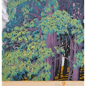 Gustave baumann american 1881  1971 color woodblock print singing trees with aluminum leaf on laid paper santa fe nm 1928 framed and matted chop mark artists signature titled and num