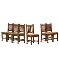 Roycroft set of six mahogany dining chairs east aurora ny ca 1907 carved orb and cross mark 38 12 x 18 12 x 17