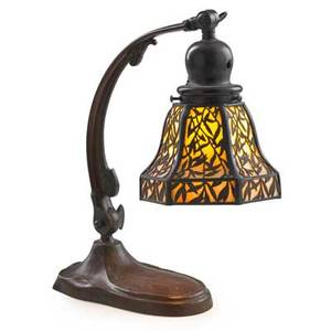 Handel adjustable desk lamp with foliate shade meriden ct 1910s patinated metal caramel slag glass single socket cloth label to base shade stamped handel total as shown 13 x 10 12 shad