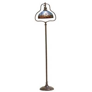 Handel floor lamp with chipped glass shade reversepainted in treasure island decoration meriden ct 1910s patinated metal acidetched glass single socket base stamped handel shade painted h