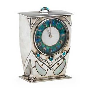 Archibald knox 1864  1933 liberty  co fine cymric carriage clock england ca 1904 sterling silver turquoise abalone enamel stamped l  co cymric with hallmarks works stamped french made
