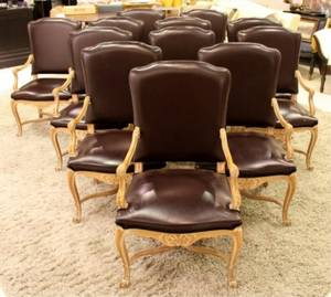 Set of 12 Venetian Baroque Style Dining Chairs