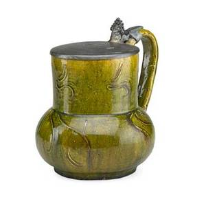 Alfred w finch 1854  1930 jugendstil ceramic jug with pewter lid belgium ca 1900 signed awf 8 34 x 8 12