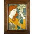 Eugene grasset 1845  1917 emile muller et cie fine and large glazed ceramic art nouveau plaque decorated in cuenca salon des cent paris france ca 1895 signed in oak frame sight 19 12