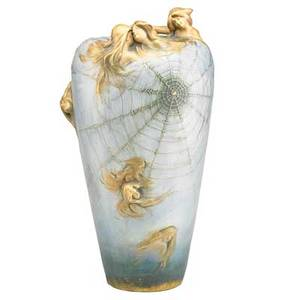 Eduard stellmacher 1868  1929 riessner stellmacher  kessel tall amphora fates vase turnteplitz bohemia 19021903 red rstk stamp raised amphora mark d371 v impressed 3744 42 14 x 7