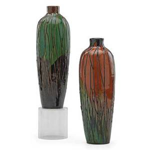 Max laeuger 1864  1952 two vases squeezebagdecorated with stylized roots germany ca 1900 both stamped muster gesetzl geschtzt with km cipher and incised numbers 10 12 x 3 14 ea