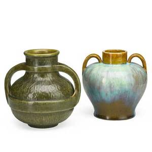 Fulper two vases one with hammered texture flemington nj 191622 raised racetrack marks 9 and 8 12
