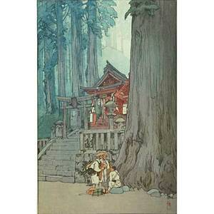 Hiroshi yoshida japanese 18761950 woodcut print misty day in nikko signed and titled together with two others actors with parasol signed sunsho and an unsigned canal scene yoshida 16 x
